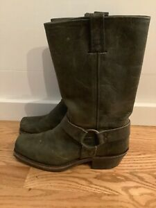 FRYE Rare Dark Green Leather Harness Motorcycle Boots Women's Size 8.5 M USA