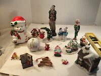 Lot of 16 Vintage Santa Figurines & Christmas/Holiday  Ornaments