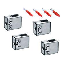 4x Glashalter 8mm 8,38mm 8,76mm Edelstahl 45x44x24mm vorne eckig/Abschluss flach