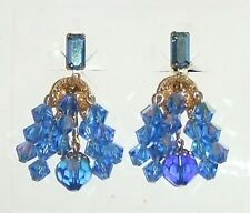 1361~Vtg Signed Lewis Segal California Blue AB Crystal Waterfall Clip Earrings**