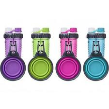 NEW H-Duo Dual Chambered Dog Hydration Bottle with Collapsible Cup Bowl by Dexas