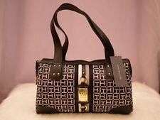 Tommy Hilfiger Women's Black and White Large Satchel Handbag Logo Purse