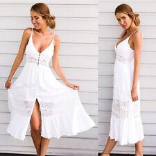 Women Summer Vintage Boho Long Maxi V-Neck Evening Party Beach Dress Sundress