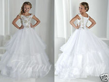White Holy First Communion Dress Little Flower Girls Kids Pageant Party Dresses