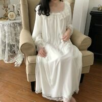 Women Girls Lolita Nightdress Nightie Sleepwear Velvet Lace Ruffle Square Collar