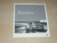 40479) Renault Laguna Coupe Preise & Extras Prospekt 09/2008