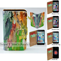 For Apple iPhone Series - Oil Paint Theme Print Wallet Mobile Phone Case Cover