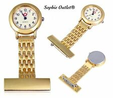 Stainless Steel Gold Nurse Fob Watch Golden Brooch Doctor Watches