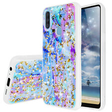 For Samsung Galaxy A11 Colorful Marble Glitter Bling TPU Phone Case Cover