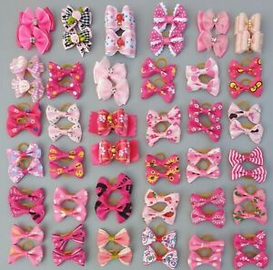 Pair of Pretty Pink Dog & Puppy Hair Bands Top Knot Grooming Bows Shih Tzu etc