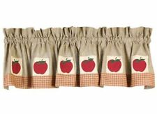 Country Primitive Apple Tan Green Cranberry Check VALANCE Window Curtain