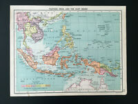 Antique Map Of India & East Indies Philippine Borneo Siam Sumatra C1910