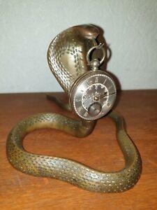 Antique Brass Pocket Watch Holder Stand Cobra
