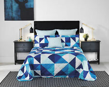 Bianca Cruze Blue Bedspread | Triangles | Blue and Turquoise tones | King