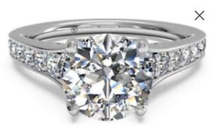 Ritani Tapered Pave Diamond Engagement Ring + 1.5ct Round Amora Gem Ultra