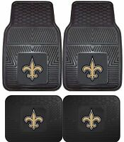 New Orleans Saints Heavy Duty Floor Mats 2 & 4 pc Sets for Cars Trucks & SUV's