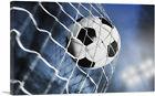 ARTCANVAS Soccer Ball Scores In Goal Net Canvas Art Print