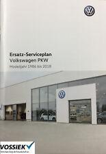 Original Volkswagen VW PKW Ersatz-Serviceplan/Serviceheft Mj. 1986-2018