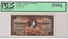 Bermuda: 5 Shillings 1.5.1957 Pick 18b PCGS Superb Gem New 67PPQ.
