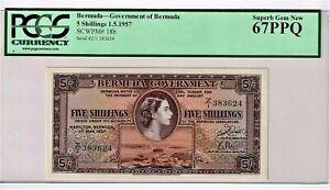 Bermuda: 5 Shillings 1.5.1957 Pick 18b PCGS Superb Gem New 67PPQ