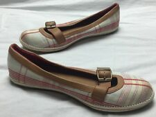 Women's Dexter Plaid Cotton Canvas Leather Buckle Ballet Flats Shoes Size 5.5