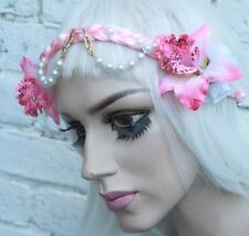 BEADED PEARL FAIRY FLOWER PINK CROWN HIPPY PASTEL GOTH GRUNGE INDIE HEADBAND