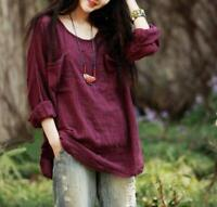 Chic Womens Casual Tops Long Sleeve Cotton Linen Loose Flax Tunic Shirts Blouses