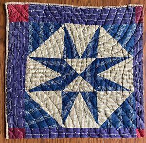 Antique 1800- Early 1900's quilt square Evening Star Variation Indigo Shirting