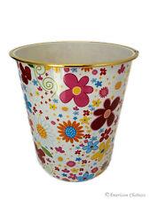 "Bathroom/Kids Room 9"" Retro Flower Plastic Waste Basket Trash Can Garbage Bin"