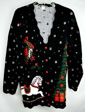 Sassno Country Christmas Sweater Cardigan Sz L Black Rocking Horse Tree Glitter