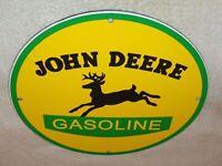 """VINTAGE JOHN DEERE TRACTOR GASOLINE + DEER  11 3/4"""" PORCELAIN METAL GAS OIL SIGN"""