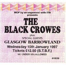 THE BLACK CROWES Concert Ticket Stub GLASGOW UK 1/15/97 THREE SNAKES & ONE CHARM