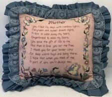 Vintage Completed Cross Stitch Throw Pillow Lace Mother Mom Butterflies Poem