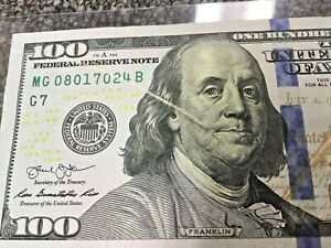 2013 $100 DOLLAR BILL BOARD BREAK ERROR NOTE ACROSS BEN & THRU SERIAL NUMBER