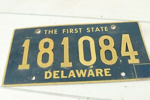 Vintage 1970's Delaware License Plate 181084 Expired The First State Riveted