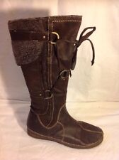 Dolcis Brown Mid Calf Leather Boots Size 38