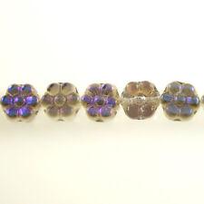 Crystal Luster Blue Iris Daisy Flowers - 25 8x4 mm Czech Glass Pressed Beads