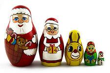 Christmas Story Santa Claus Matryoshka Russian Nesting Dolls Babushka 5 Pcs