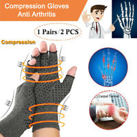Copper Arthritis Gloves Hands Therapeutic Compression Brace FIt Medical Support