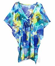 Echo Living Ladies Amazon Floral Silky Beach Blue Butterfly Cover-Up One size