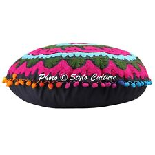 Bohemian Floral Round Embroidered Suzani Floor Cushion Cover Pom Pom Cotton 18""
