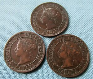 Lot of 3 Canada Queen Victoria Large Cents 1890H 1891 1892  - Nice!