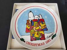 Vintage 1981 Peanuts Snoopy & Woodstock Christmas Plate #d 64 - Schmid w/ Box