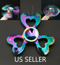 Love Alloy Tri-Spinner Fidget Toy EDC Hand Finger Spinner Rainbow