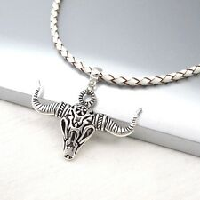 Silver Alloy Bull Longhorns Skull Pendant Braided White Leather Choker Necklace