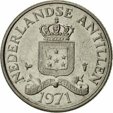 [#427009] Netherlands Antilles, Beatrix, 25 Cents, 1971, AU(55-58), Nickel