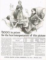 1920s BIG Original Vintage Eaton Crane Pike John Lagatta Flapper Art Print Ad