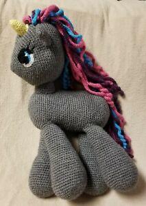 "MY LITTLE PONY 20"" Gray Unicorn PLUSH STUFFED TOY Doll Hand-Made Crocheted EUC"
