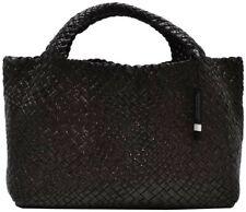 Falor Woven Leather Handbag - Black