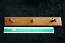 Vintage Solid Oak Wood Wall Mount with Three Pegs with Mounting Holes